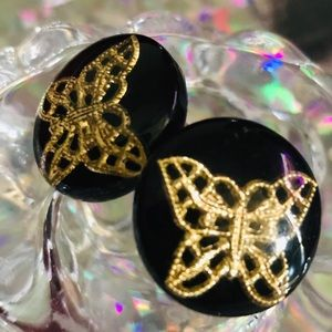 Vintage gold butterfly button resin earrings pinup